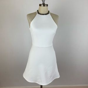 Topshop White Halter Flare Dress